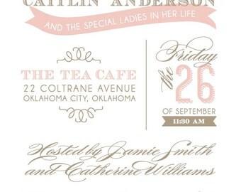 Blush & Taupe Bridal Luncheon Invitation