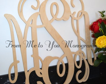 wooden monogram monogram wall hanging wedding monogram wooden letters nursery decor vine script wooden monogram wall hanging