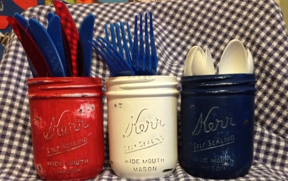 Painted Mason Jars Red White And Blue These By
