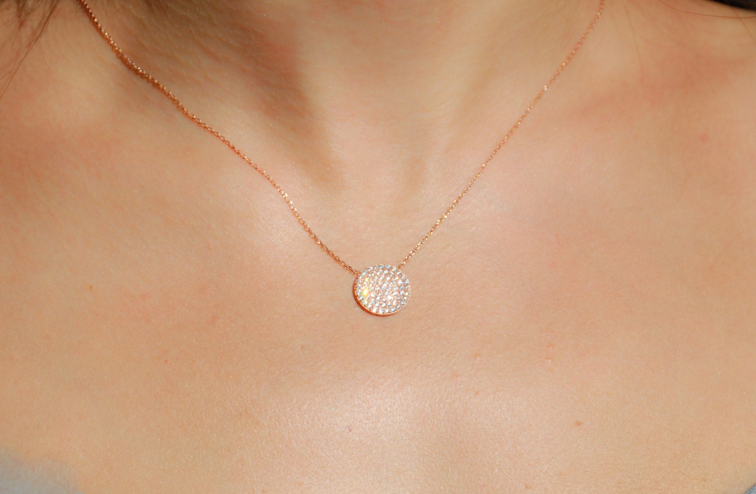 Rose Gold Pave Necklace Pave