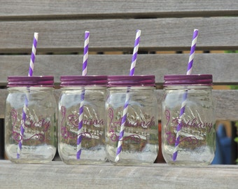 wedding party favor, glass mason tumblers, mason jar tumblers, colored mason jars, bridesmaid mason jars, drinking mason jar, bachelorette
