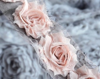 1/2 Yard Shabby Rose Trim 7 pcs Shabby Flower FREE Shipping for 20.00 Order Peach Pink Shabby Frayed Chiffon Flower Lace LA067