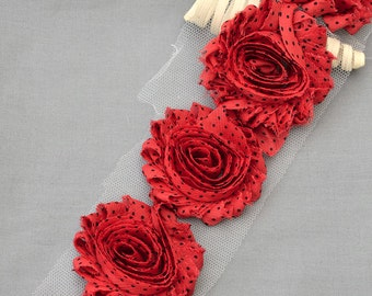 1/2 Yard Shabby Rose Trim 7 pcs Shabby Flower FREE Shipping for 20.00 Order Red Black Polka Dot Shabby Chiffon Flower LA104