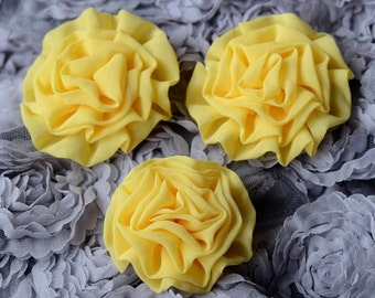 2 pcs Chiffon Silk Rose Flower Cabbage Rosette Bud Yellow Bridal Hair Comb Bow Headband Clip Free Shipping 20USD or more SF081