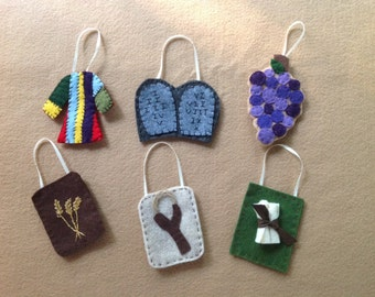 Jesse Tree ornaments. Advent embroidered felt CHRISTMAS ornaments..heirloom quality. Christmas. Kids Bible story