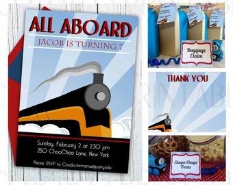 Printable Train Party Kit MINI SET, INSTANT download Editable invitation, steam train invitation, Boy Birthday, Train birthday party package