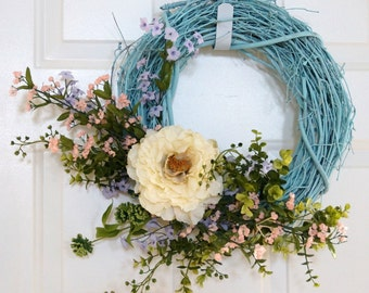 Year Round Wreath, Spring Wreath, Summer Wreath, Wildflower Wreath,Blue White Wreath,Door Wreath, Shabby Chic wreath