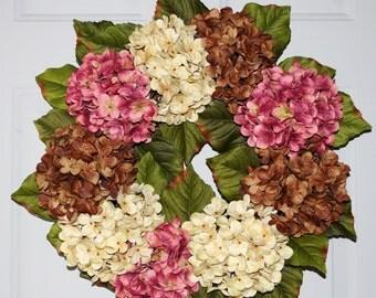 Summer Wreath, Wedding Decor, Shabby Chic Wedding Flowers, Summer Outdoor Wreaths, Hydrangea Decor