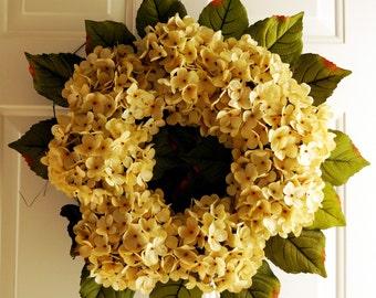 Hydrangea Wreath Creme Beige Blooms Fall Front Door Decor, Summer Autumn Flowers Wreath