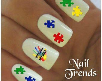 Autism nail art etsy uk autism awareness nail decal 25 vinyl adhesive decals nail tattoos nail art prinsesfo Images