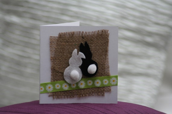Two little cotton tails easter card