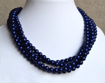 wedding  pearl necklace,4-rows pearl necklaces,,bridesmaids necklace,navy glass pearls necklaces, pearl necklace,necklace,wedding,