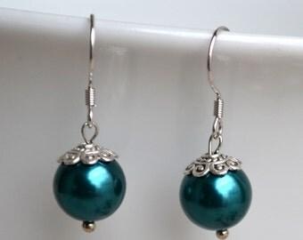 teal pearl earrings,dangle pearl earrings,10mm pearl earring,wedding earrings,bridesmaids earrings,glass pearl earrings,earring
