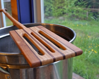 Mash paddle for home brewing, hand-crafted from local and recycled wood- Rectangular