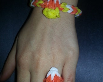 Halloween Loom Bracelets and Ring (Candy Corn and Pumpkin)