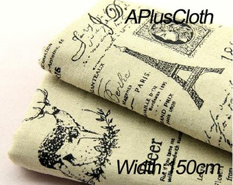 french script fabric,cotton linen fabric,eiffel tower print fabric,zoo animal deer print fabric,queen letter drawing print vintage fabrics