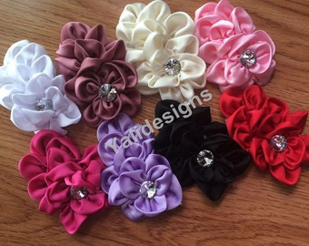 10pcs Wholesale 4.2'' inch Satin Ribbon Flower - DIY Headband Accessories- Fabric Flower Mixture Color  YTA30