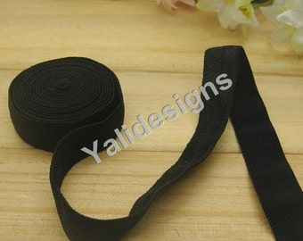10 Yards 3/8''  Black Elastic Headband Baby Hairbow Soft Foldover Elastic Binding Webbing Tape Craft Sewing  - YTA13