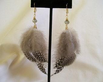 Natural Guinea Feather Dangle Earrings