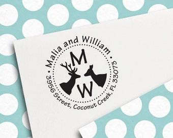 Custom Round Address Stamp, Self Inking Stamp, Monogram Stamp, Return Address Stamp, Wedding Address Stamp, Personalized Stamp (r38)