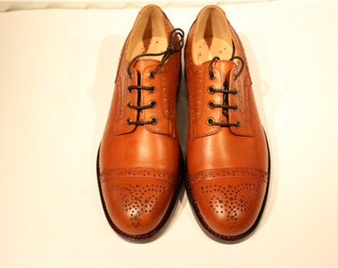 Handmade Goodyear Welted Brogue Carving Men's Shoes,Bluches