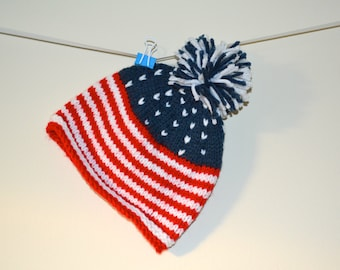 Hand Knit American Flag Hat - Made To Order