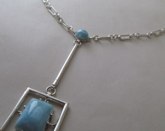 Falling Waters - Sterling Silver Larimar Necklace