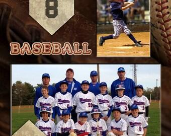 8x10 Baseball - Player Profile Photoshop Template