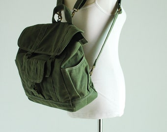 Christmas in July SALE 30% - Glen, Green, Camera Backpack Convertible / Waxed Canvas Backpack / DSLR Backpack