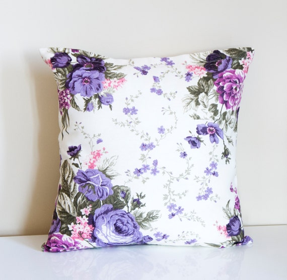 Purple Decorative PillowFloral Cushion by prettysurprise on Etsy