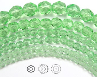 8mm (51pcs) Light Peridot, Czech Fire Polished Round Faceted Glass Beads, 16 inch strand