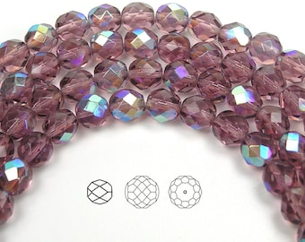 8mm (51pcs) Light Amethyst AB coated, Czech Fire Polished Round Faceted Glass Beads, 16 inch strand