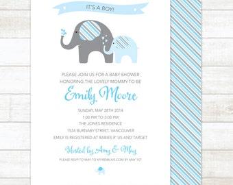 elephant baby boy shower invitation printable digital elephant stripes invite blue shower invite customizable personalized