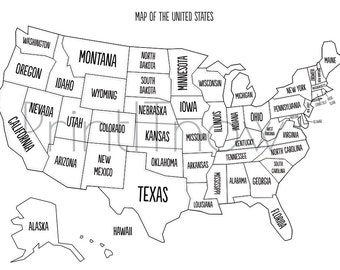 Usa State Map Iron On Transfer Sketch Coloring Page - Full page us map