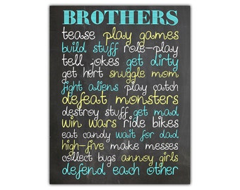 Brothers art - boys room print - brothers wall art - chalkboard wall decor - boys nursery printable - boys bathroom art - brothers love