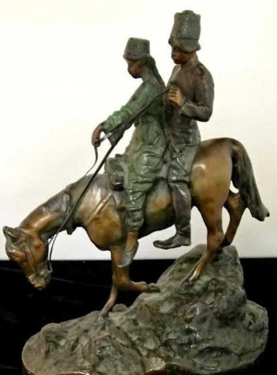 Storewide 25% Off SALE Heavy Bronze Sculpture by Listed French Artist Jean Paul Aube featuring a 19th Century Russian Soldier on Horse with