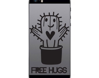 TechTattz Free Hugs Cactus Vinyl Decal Sticker for Phone Tablet Laptop