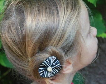 Black Striped Hair Clip w/ Silver Embellishment