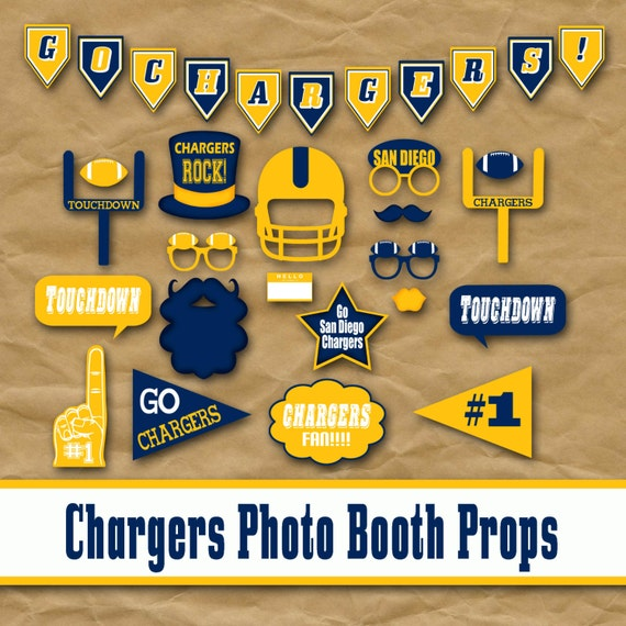 San Diego Chargers Football Printable Photo Booth Props