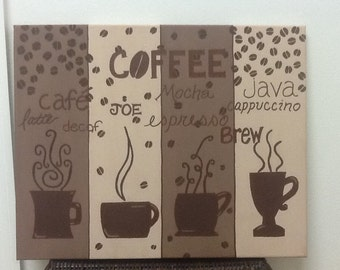 Custom canvas coffee themed painting