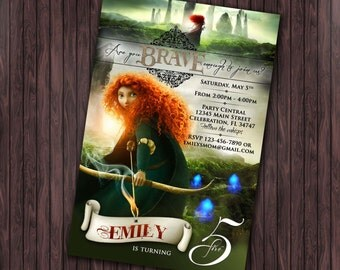 Brave Merida #1 Birthday Party invitation - custom diy printable