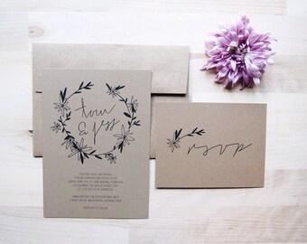 floral daisy bohemian wreath wedding invitation // THE DAISY // black on rustic kraft paper // DEPOSIT