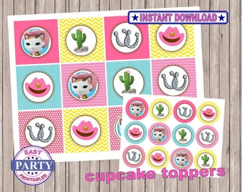 SALE Sheriff Callie Instant Download Cupcake toppers easily print from home, cupake toppers, printable toppers, instant download, sale