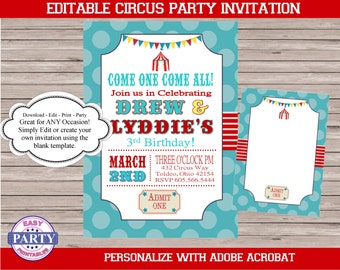 Circus Teal and Red Invitation Template, For Any Occassion, instant download, printable invitation, boy birthday, DIY, carnival, add  text
