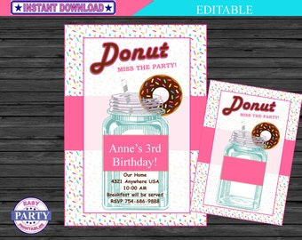 Donut Invitation, pink and blue, girl birthday, Editable invitation, For Any Occassion, instant download, printable invitation, DIY, add tex