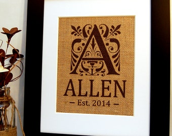 Burlap Family Sign, Personalized Family Sign on Burlap, Great Wedding Present, House Warming Gift, or Anniversary Gift