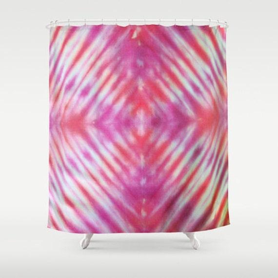 Fabric Shower Curtain Pink Purple Tie Dye Stripes
