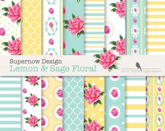"""40% Off Shabby Chic Digital Paper Pack. """"Lemon and Sage Floral"""" Yellow & Sage Papers . Roses.Stripes,Polka Dots. Download NOW"""