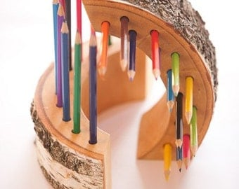2 Wood Pencil Holders, Office Gift, Desk Accesories, Ofice Decor, Nursery  Decor
