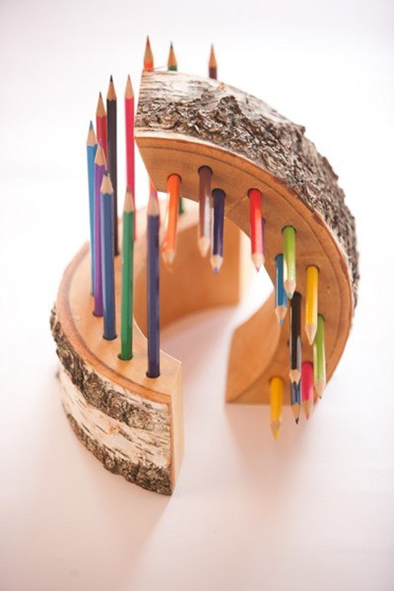 Items similar to 2 wood pencil holders office gift desk Cool pencil holder ideas